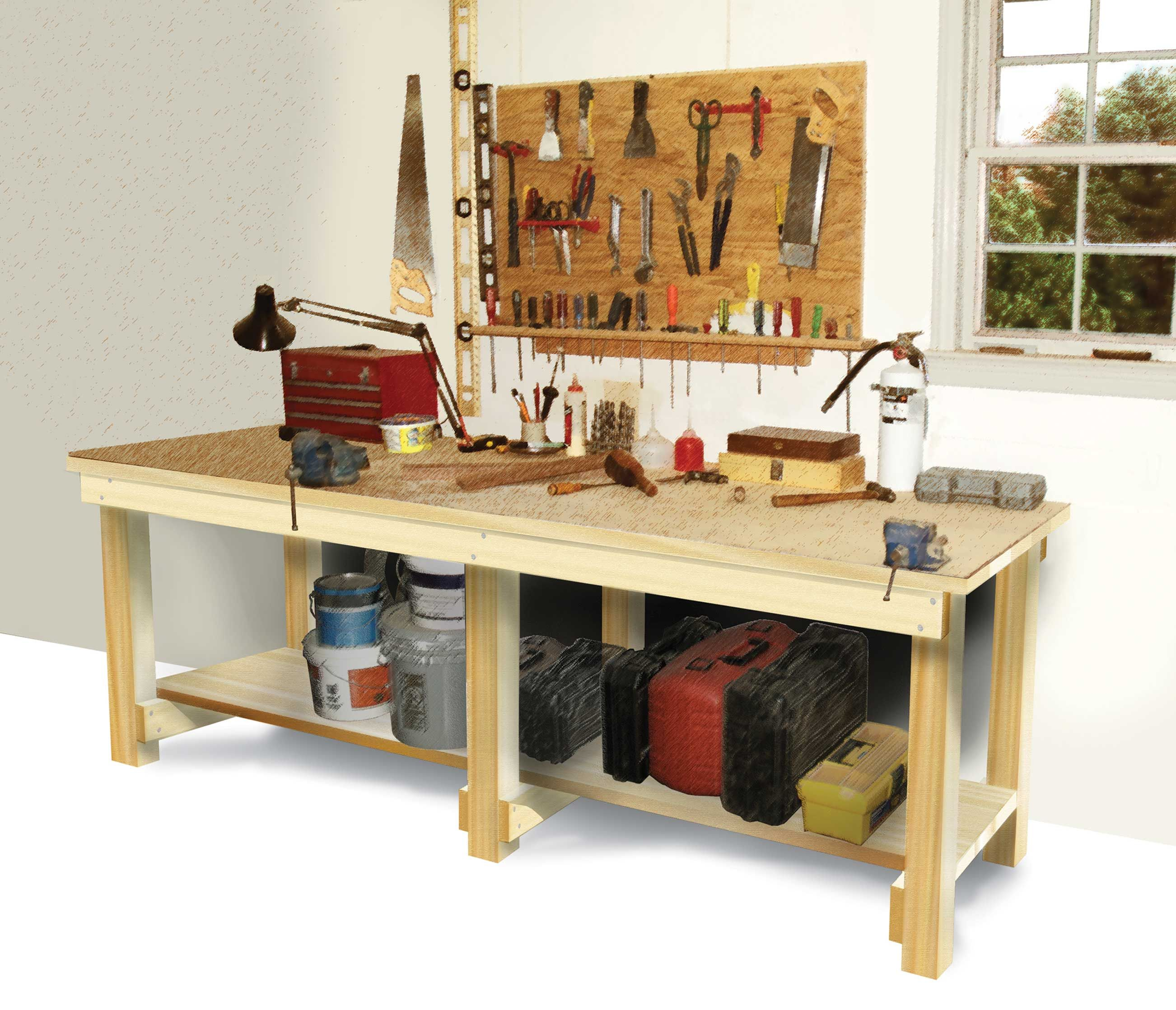 Tool Benches Garage : How to build a workbench diy plans easy