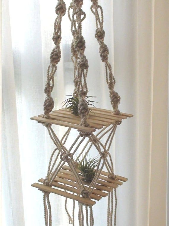 Unique Macrame Air plant hanger, Candle holder, Wall Boho Chic, vintage retro Home Decor, Woven Wall Hanging Shelf, Bohemian Home Art Decor