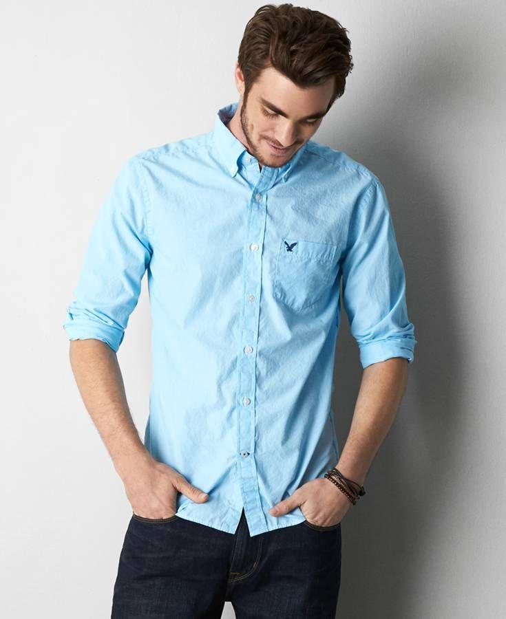 American Eagle Microstripe Button Down Shirt, Men's, Turquoise ...