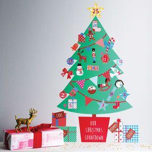 Personalised Advent Calendar Tree Wall Stickers  festive wall art