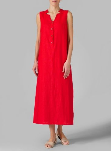242178d6309 Linen Sleeveless Slip-on Dress Oat