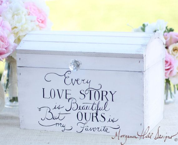 Wedding Card Box Shabby Chic Decor Vintage Inspired Hand Painted – Wedding Card Keepsake Box