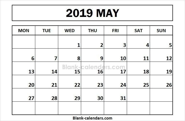 Printable May 2019 Calendar Monday Start 2019 Calendar Pinterest