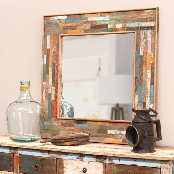 Miroir en bois h 90 cm boh me miroir bois d corer Petit miroir decoratif