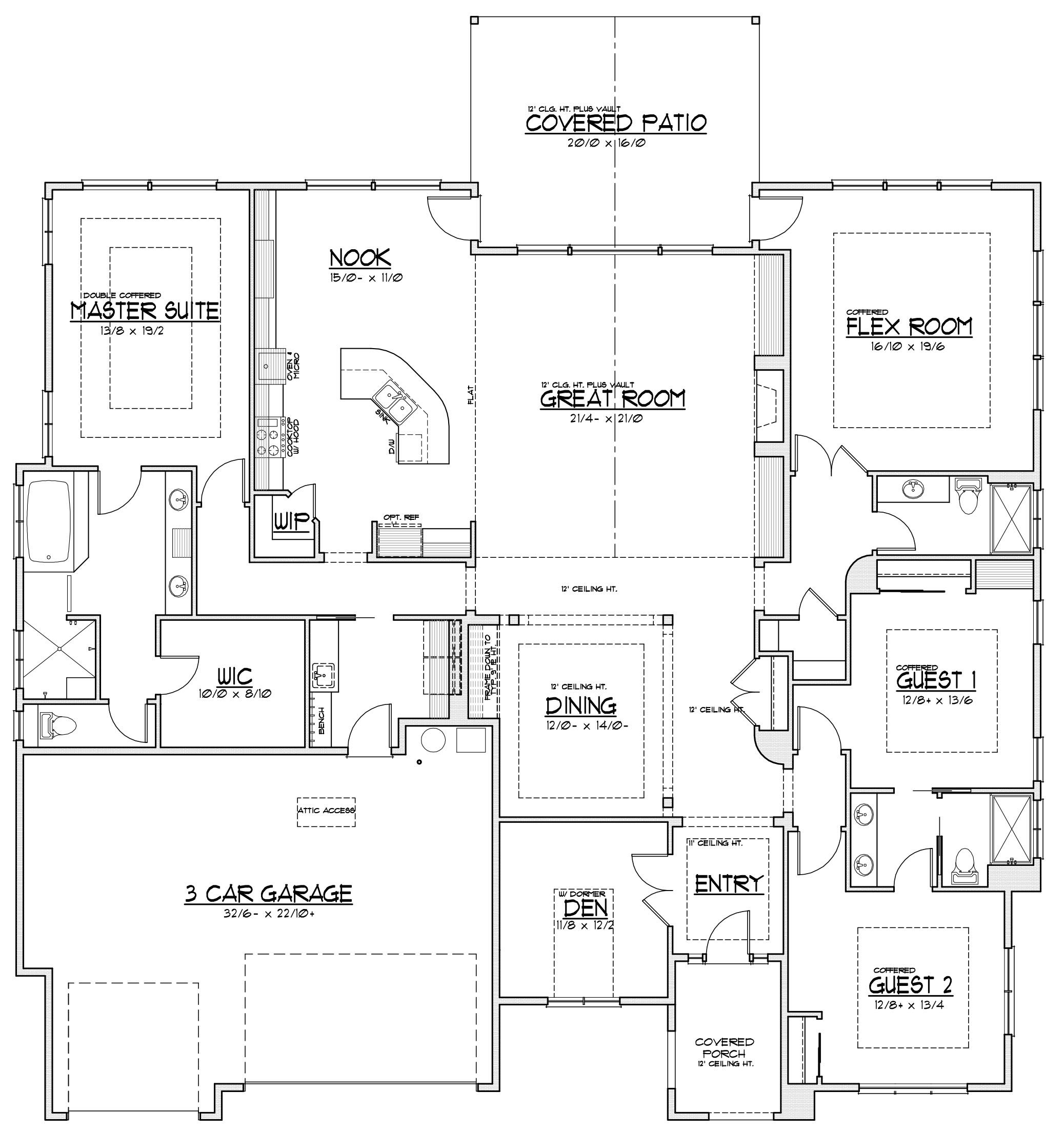 The Hampton Floorplan Rambler Could Add Basement Floor Plans Large House Plans Custom Homes