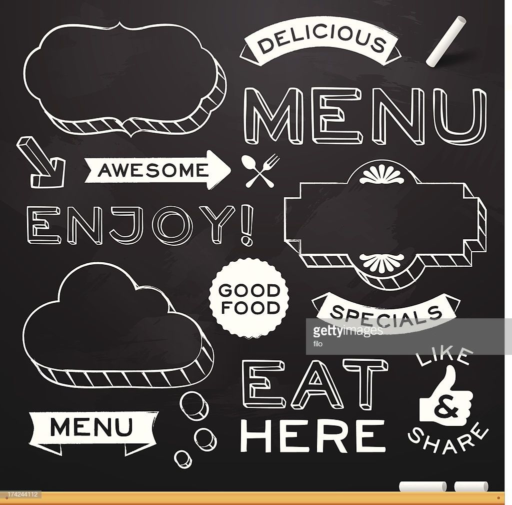 Vektorgrafik Tafel Restaurant Menu Elemente Kreidetafel Schrift Auf Kreidetafeln Schreiben Kreideschrift