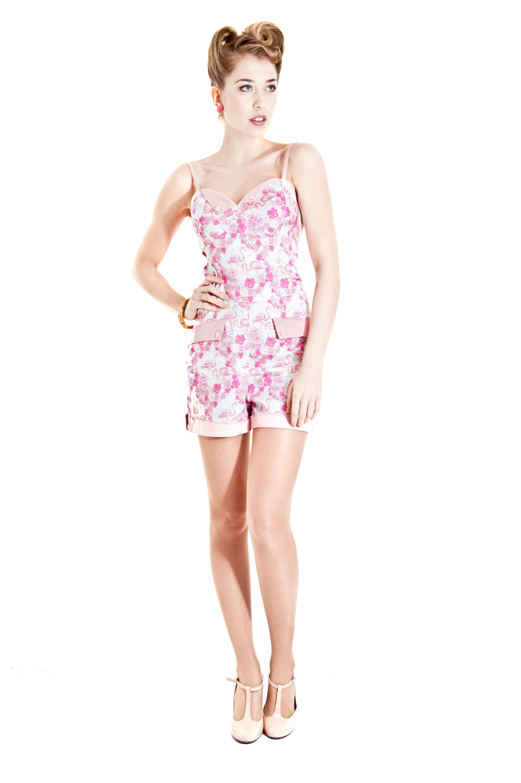5c6892b225 (vu) Futura Flamingo Playsuit  collectif  vintage  fashion  1940s  1950s   flamingo