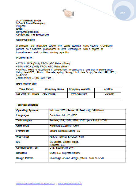 Professional Curriculum Vitae Resume Template For All Job Seekers Sample Template Of A Bca Mca Re Resume Format For Freshers Resume Format Job Resume Format