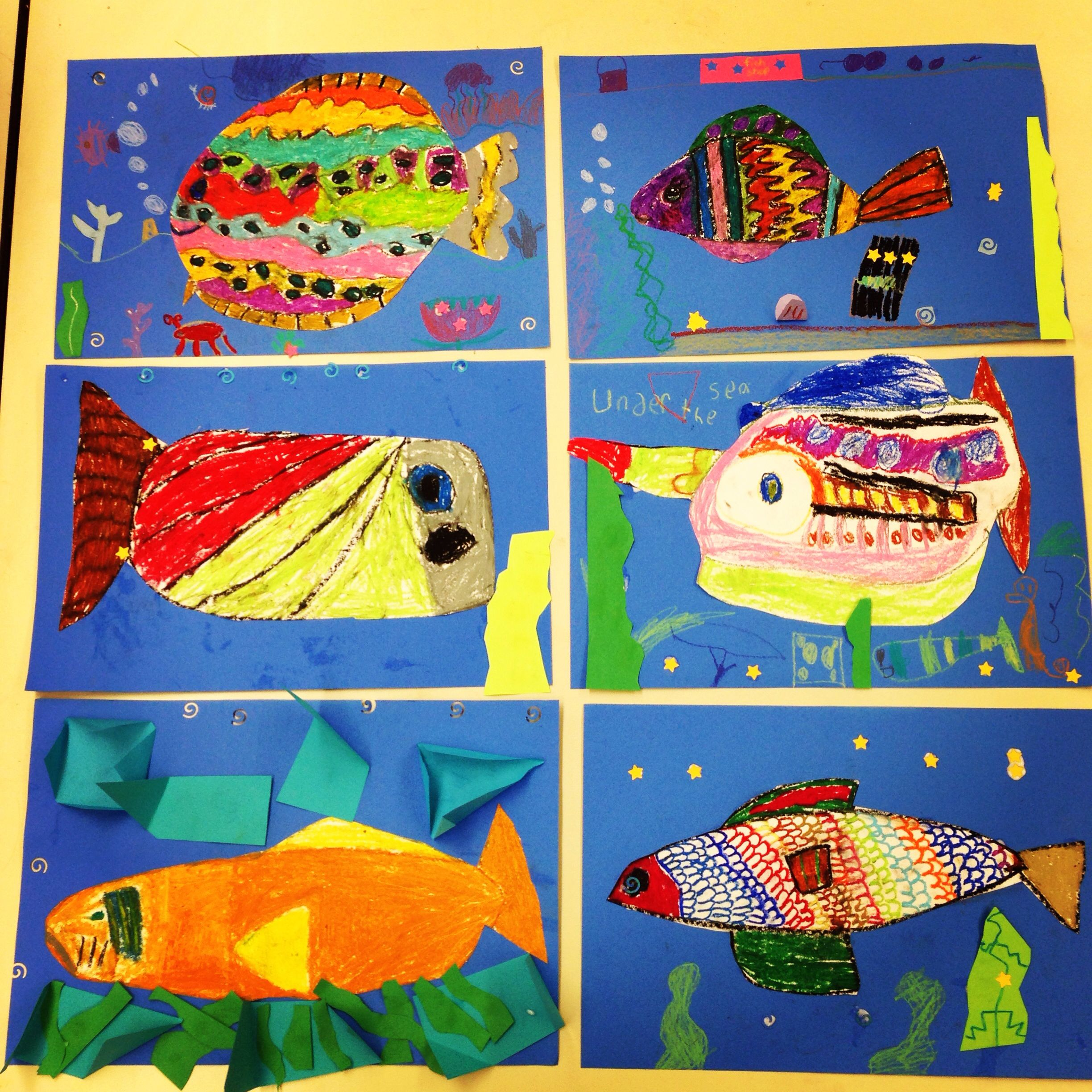Elementary Art Project Oil Pastel Fish Collage Background