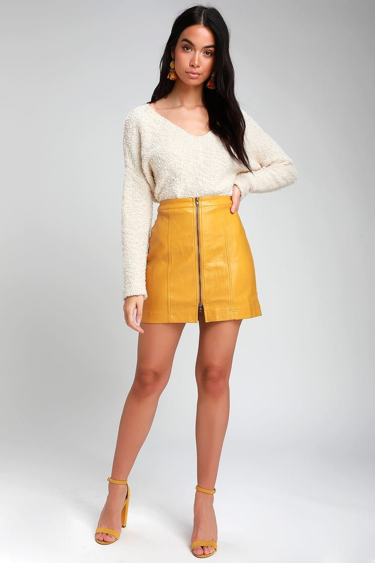9822998672 Clariah Mustard Yellow Leather Mini Skirt in 2019 | what to wear ...