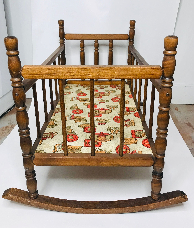 Vintage Handmade Wooden Rocking Baby Doll Crib/Cradle ...