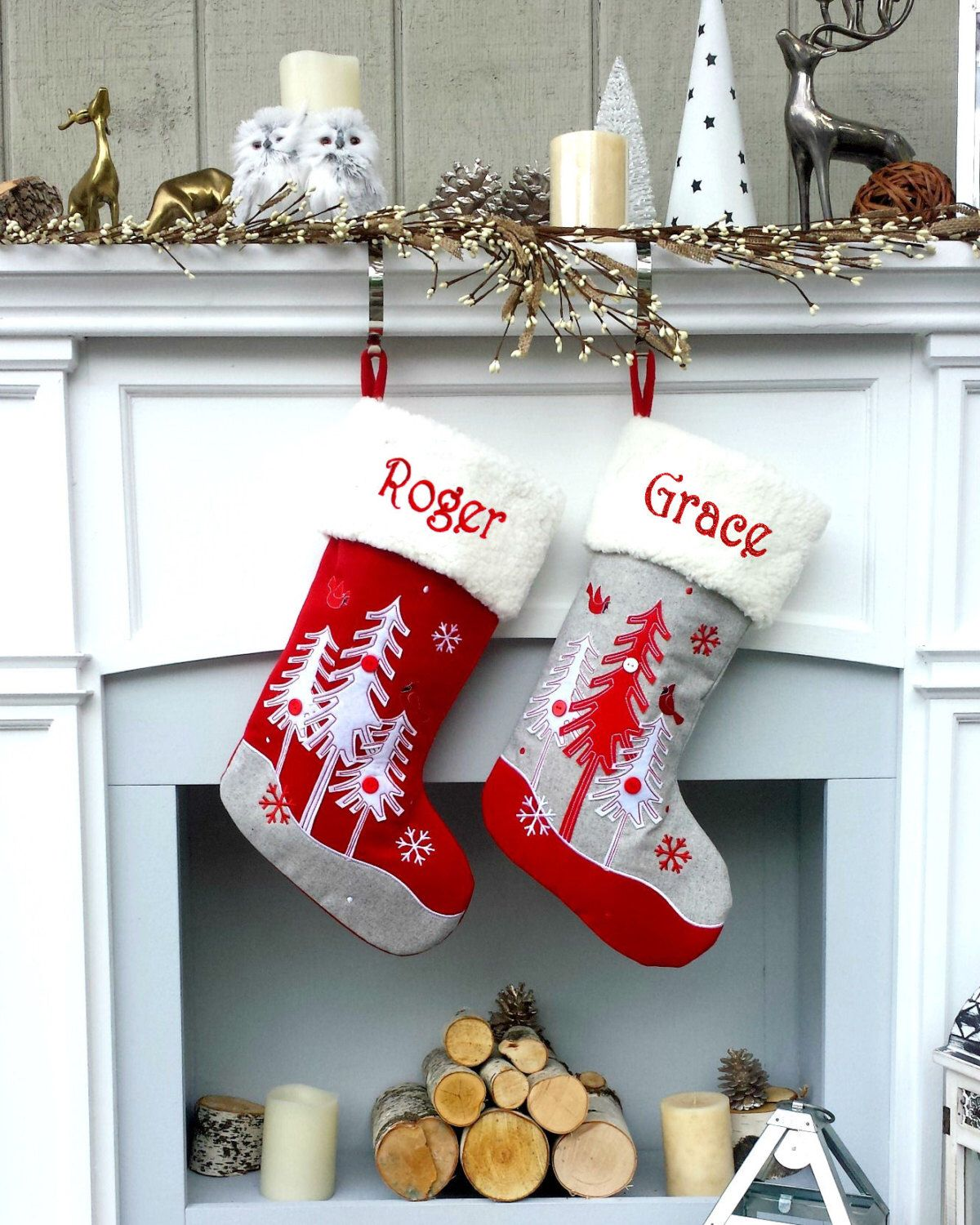 Whimsical Nordic Wool Felt Stocking With Scandinavian Forest Trees Personalized Monogra Christmas Stockings Christmas Stockings Diy White Christmas Stockings