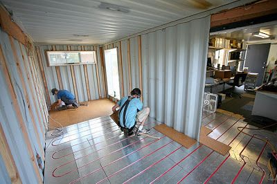 Shipping Container Homes How To Diy Own Home Add Floor Heat With Tubes Futura Home Shipping Container Office Building A Container Home Shipping Container