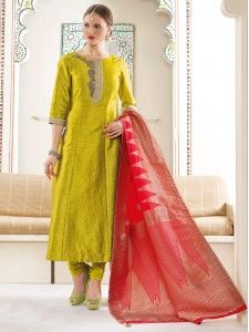 Olive plain silk salwar suit | dresses | Pinterest | Salwar suits ...