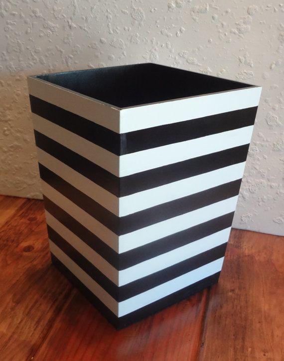 Black And White Striped Wastebasket Horizontal By DREAMATHEME