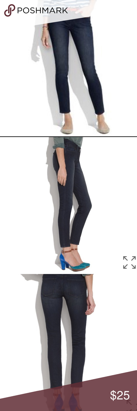 """Madewell Skinny Skinny Ankle Jeans in Azure Our superslim and superstretchy fit, flatteringly cropped at the ankle with five-pockets. Sit at hips. Fitted through hip and thigh, with a slim leg. Leg opening: 10 1/2"""". Inseam: 28 1/2"""". 98% cotton/2% spandex. Machine wash. Import. Worn only once. From sample sale so it's missing care tag and has writing on the inside (pic). Madewell Jeans Ankle & Cropped"""