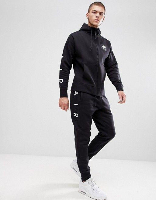 Nike   Nike Air Zip Through Hoodie With Arm Print In Black 886044-010 1dd5224cb64