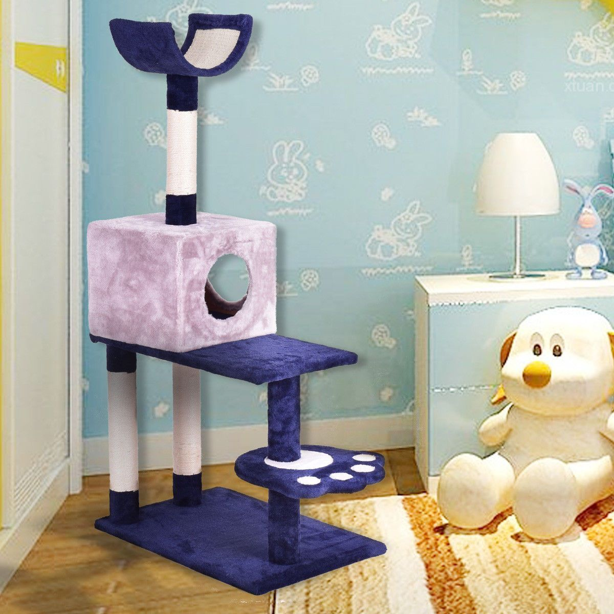 This New Brand Cat Tree Condo Furniture Scratch Post Pet House With  Comfortable Fabrics In Exquisite Design Is A Magic Castle, Park, Room For  Your Cats.