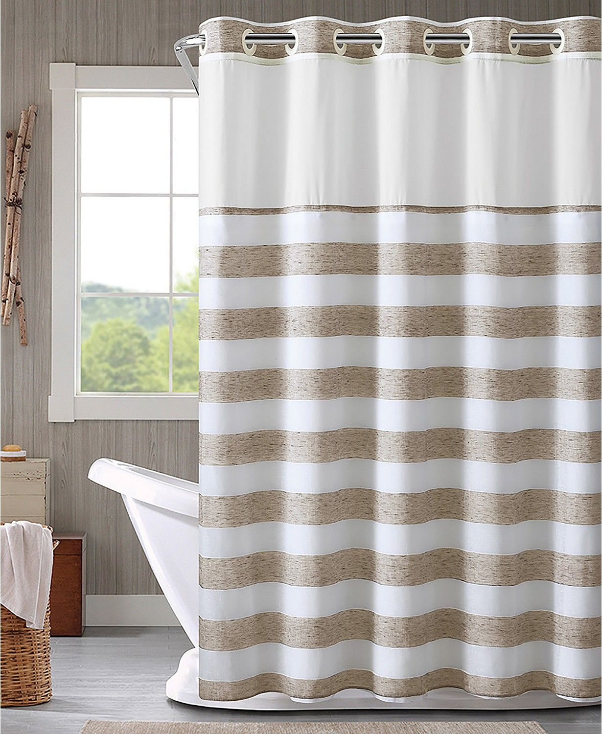 Hookless Yarndye Stripe 3 In 1 Shower Curtain Reviews Shower