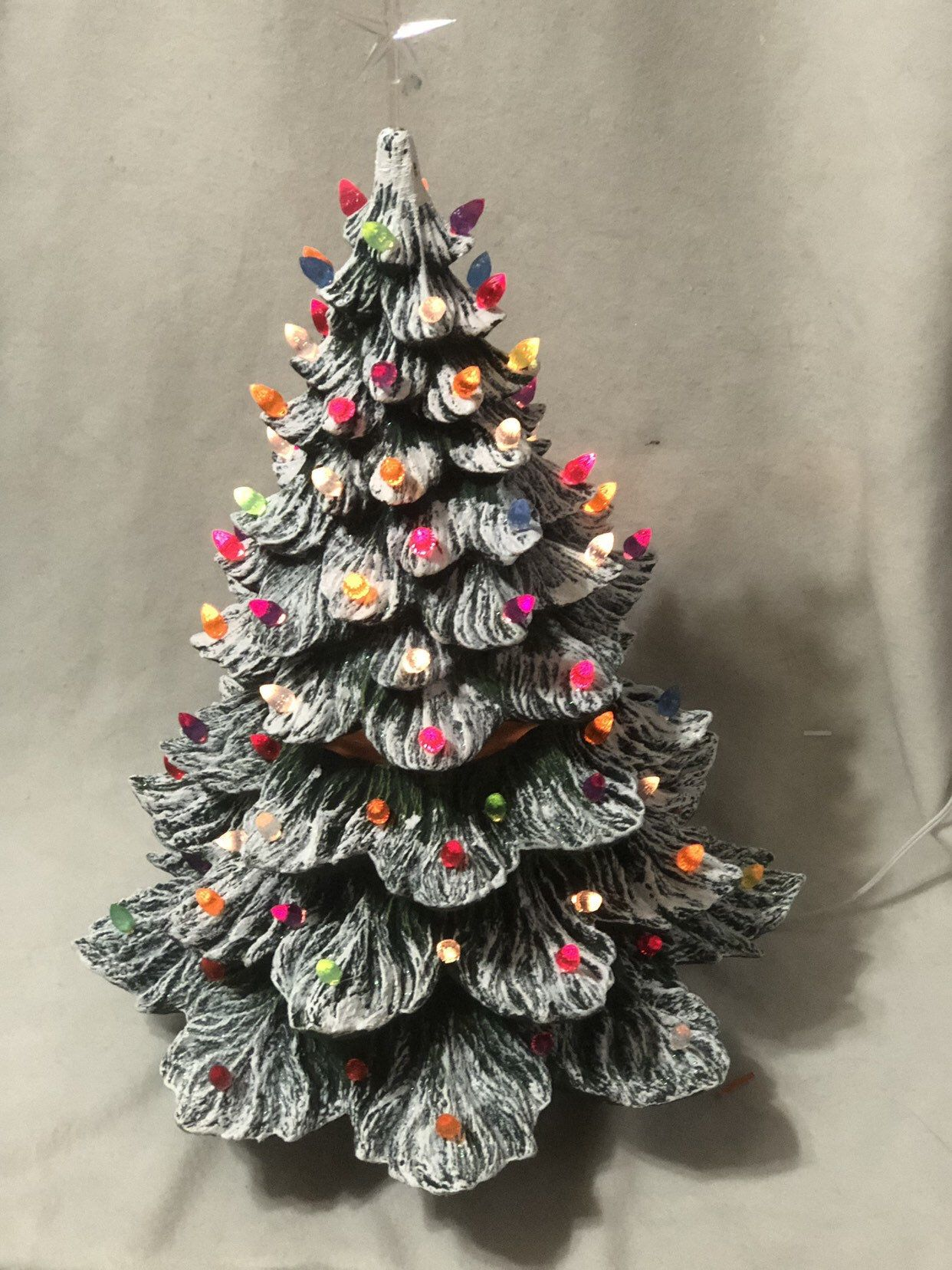 Large Green Glazed Ceramic Christmas Tree with multi color