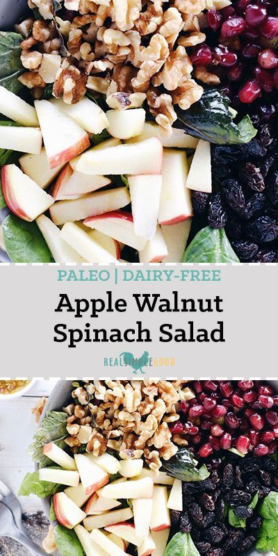 Photo of Apple Walnut Spinach Salad (GF, Dairy-Free + Refined Sugar-Free)