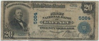 Gaffney, SC - Ch. 5064 - $20 1902 Blue Seal Gaffney, SC had two national banks. This $20 blue seal is from the early bank that changed its name from The National Bank of Gaffney to The First National Bank of Gaffney, just months before The Merchants and Planters Bank nationalized in 1914. We can assume that was a bit of old school gamesmanship to let the good folks in Cherokee County know that charter 5064 was the original national bank in town.