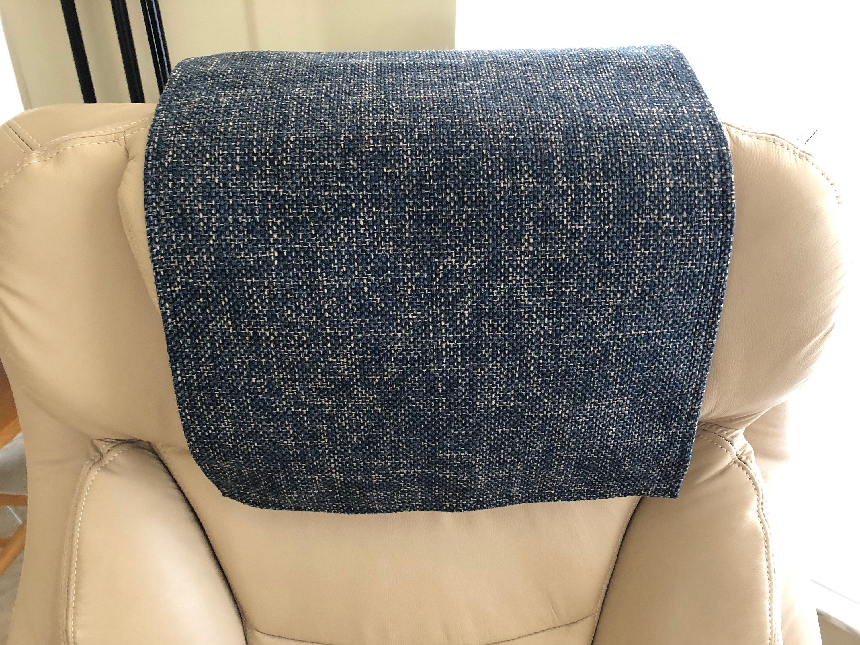 Recliner Head Cover Navy Khaki Weave Upholstery Chair Pad Furniture Protector Size 14x30 Inches Theater Seat Recliner Chair Fabric Beach Chair With Canopy