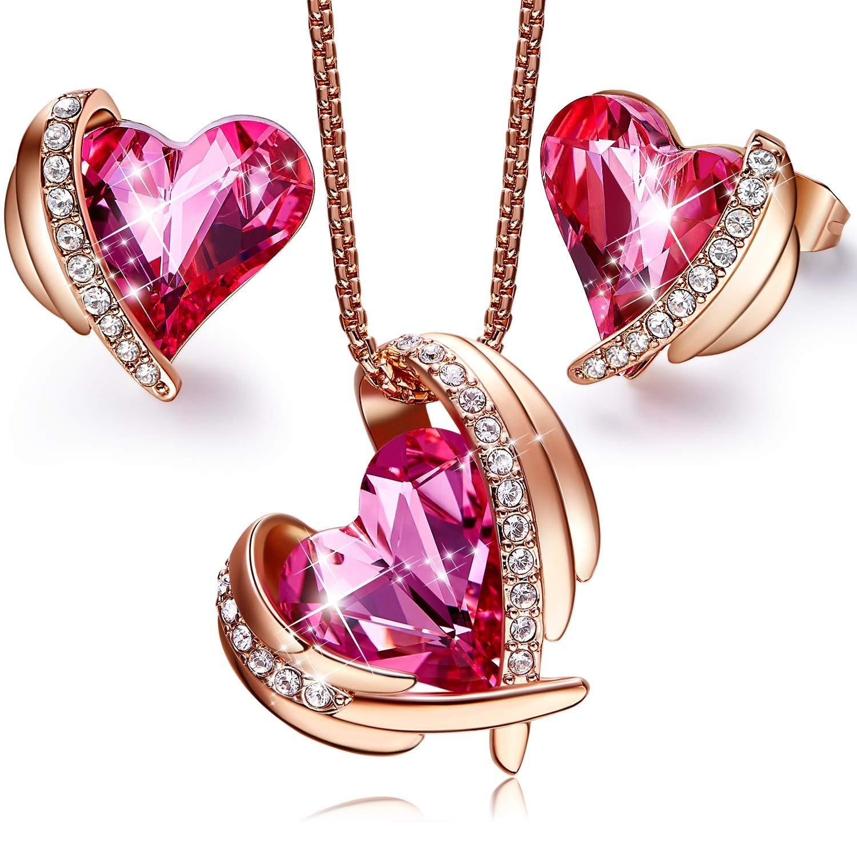Crystal Rhinestone Rose Gold Necklace Deep Rose Pink Topaz Blue Bling Necklace