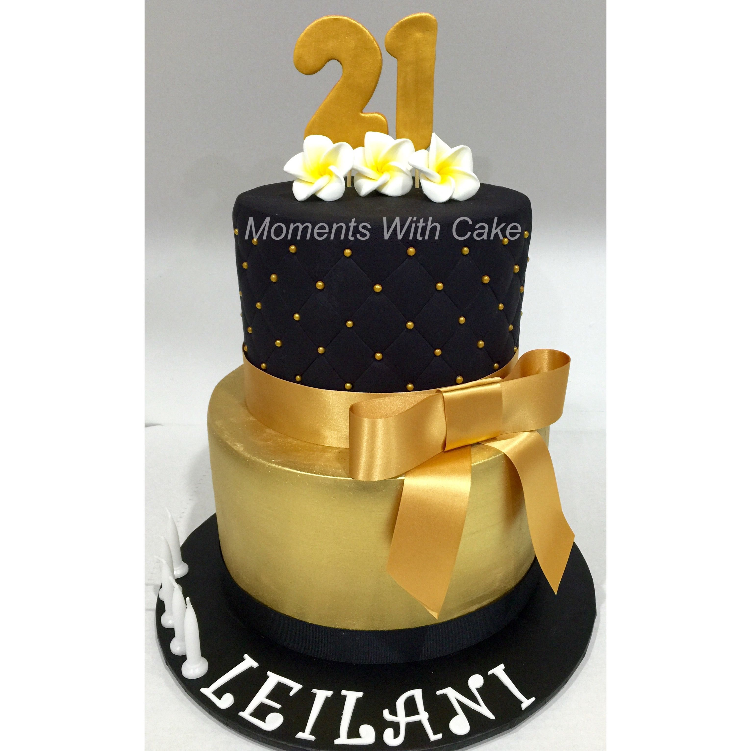 21st Birthday Cake Black Quilting Effect Top Tier And Gold