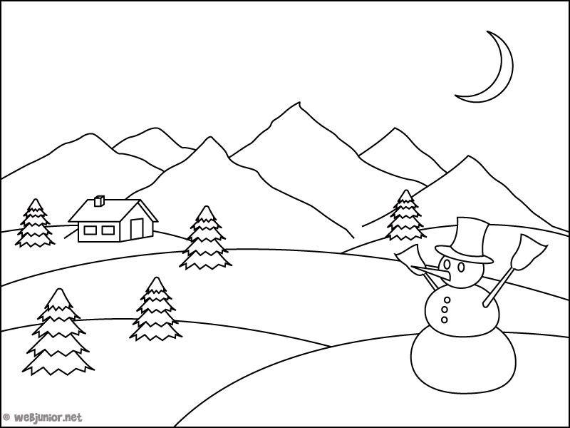 HD wallpapers coloriage paysage d hiver imprimer