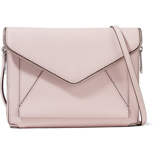 Rebecca Minkoff - Marlowe Mini Textured-leather Shoulder Bag ($146) ❤ liked on Polyvore featuring bags, handbags, shoulder bags, pastel pink, miniature purse, shoulder handbags, mini shoulder bag, zip shoulder bag and pink handbags