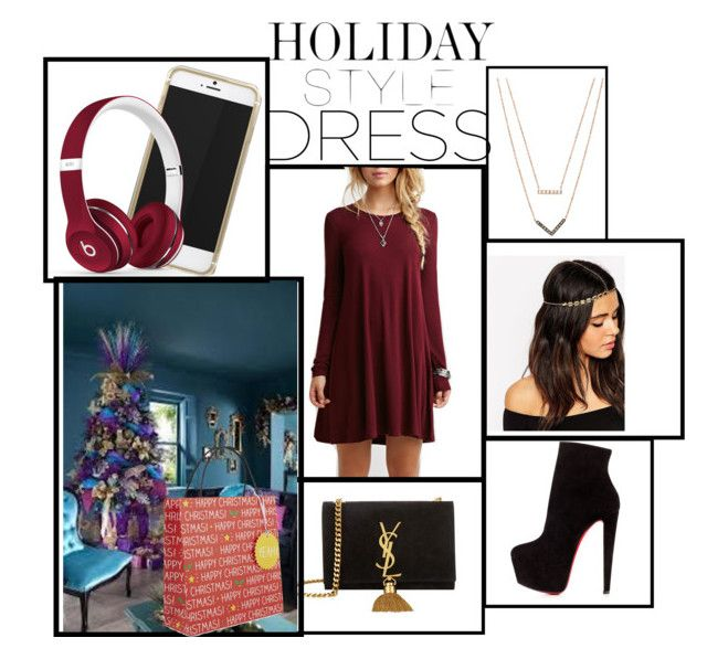 """""""Holidays are BACK"""" by princess-erika15 ❤ liked on Polyvore featuring Christian Louboutin, Yves Saint Laurent, Michael Kors, Beats by Dr. Dre, Penny Kennedy, ASOS, women's clothing, women's fashion, women and female"""