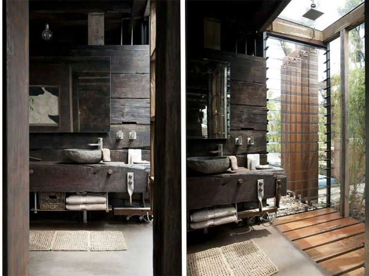 lavabos rusticos banos madera oscura ideas Interiores para baños - lavabos rusticos