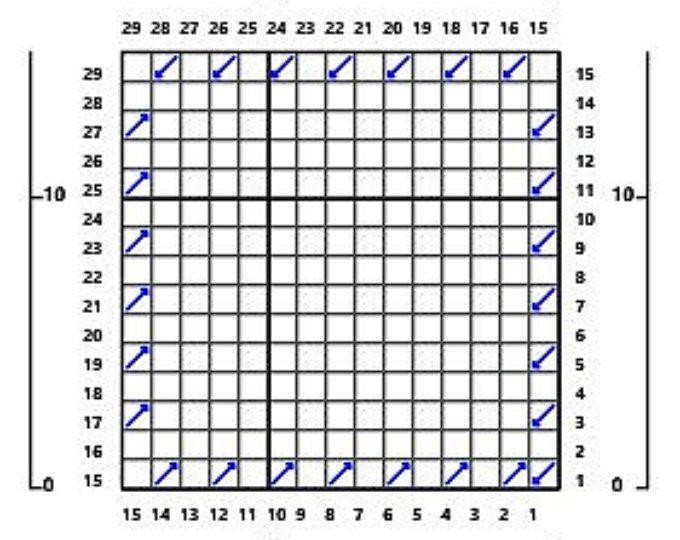Crochet Corner To Corner (C2C) Graph Blank - 80 Columns x 120 Rows - blank grid chart