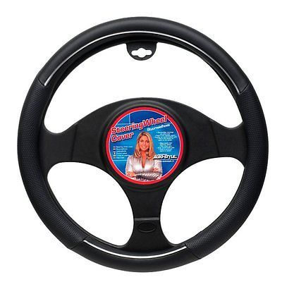 Autostyle Jb80206bk Steering Wheel Cover Black Chrome Rim View