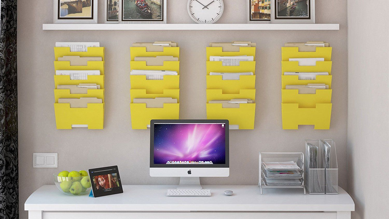 Amazon.com : Yellow Wall Mount Steel File Holder Organizer Rack 5 ...
