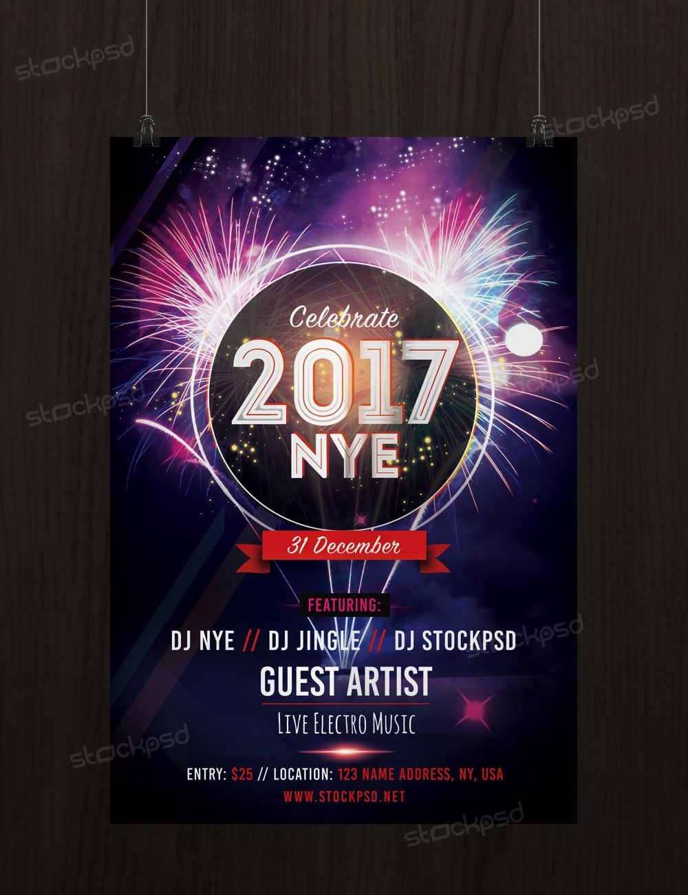 new years eve 2017 free party psd flyer