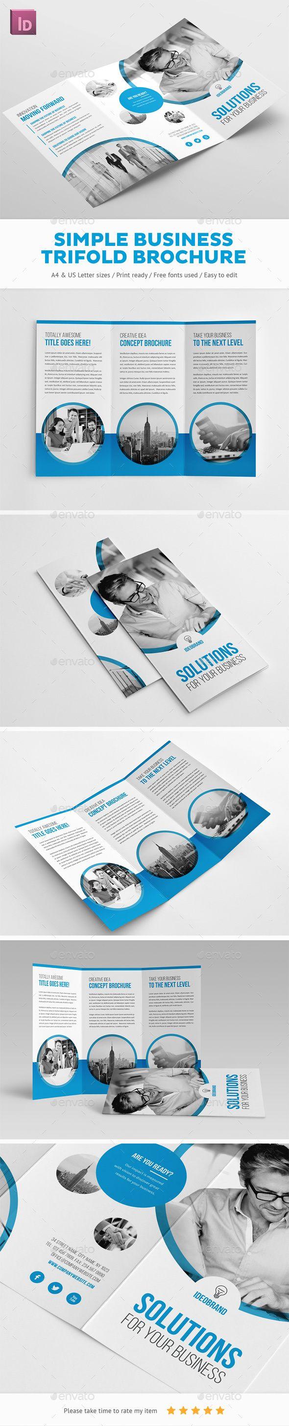 Simple Business Trifold Brochure  Brochure Template Brochures