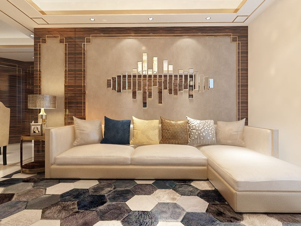 The muted colors in the living area hint at the neoclassical colour palette. Although the theme is about elegance and sophistication, the art wall with mirror and the geometric rug is what is setting it apart. Hashtags: #SaintGobain #Mirror #MirrorDesigns #MirrorDecor #NeoclassicalDesign #NeoclassicalDecor #LivingArea #LivingRoomDesigns