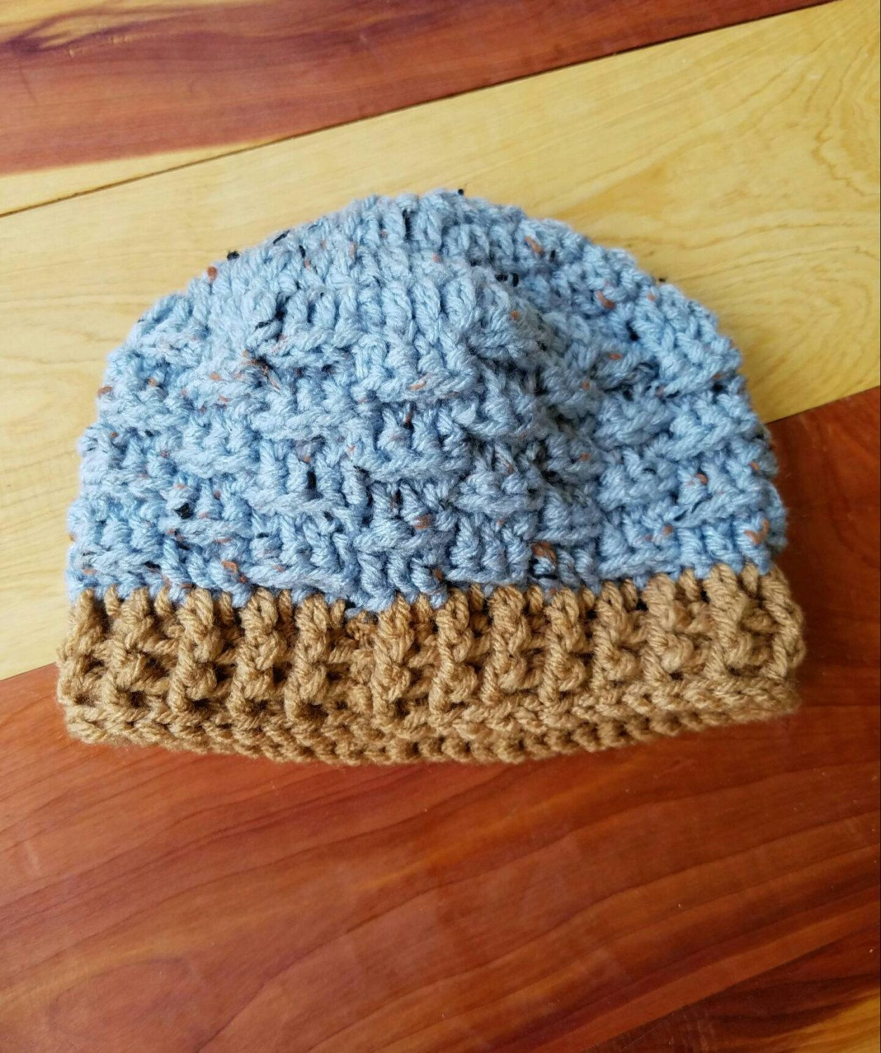7bc4a6a8d28 SALE Baby Boy s Basket Weave Crocheted Hat. Size 6-12 Months