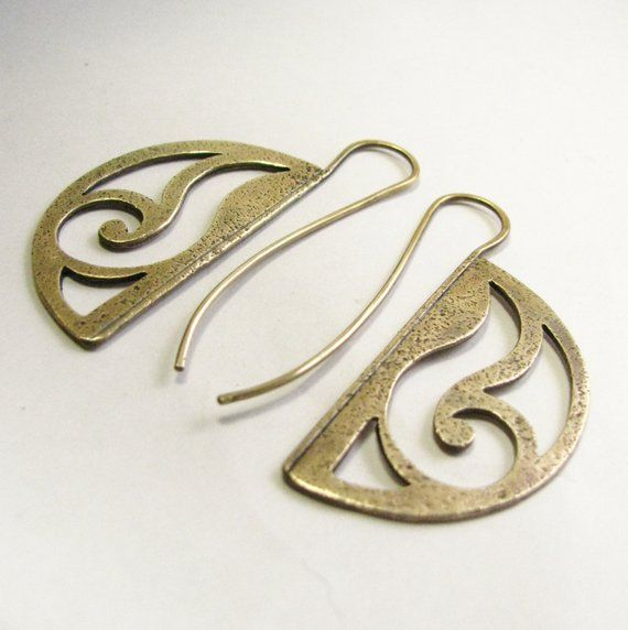 Bronze Earrings, Art Nouveau Earrings, Mixed Metal Statement Earrings, Unique Artisan Jewelry