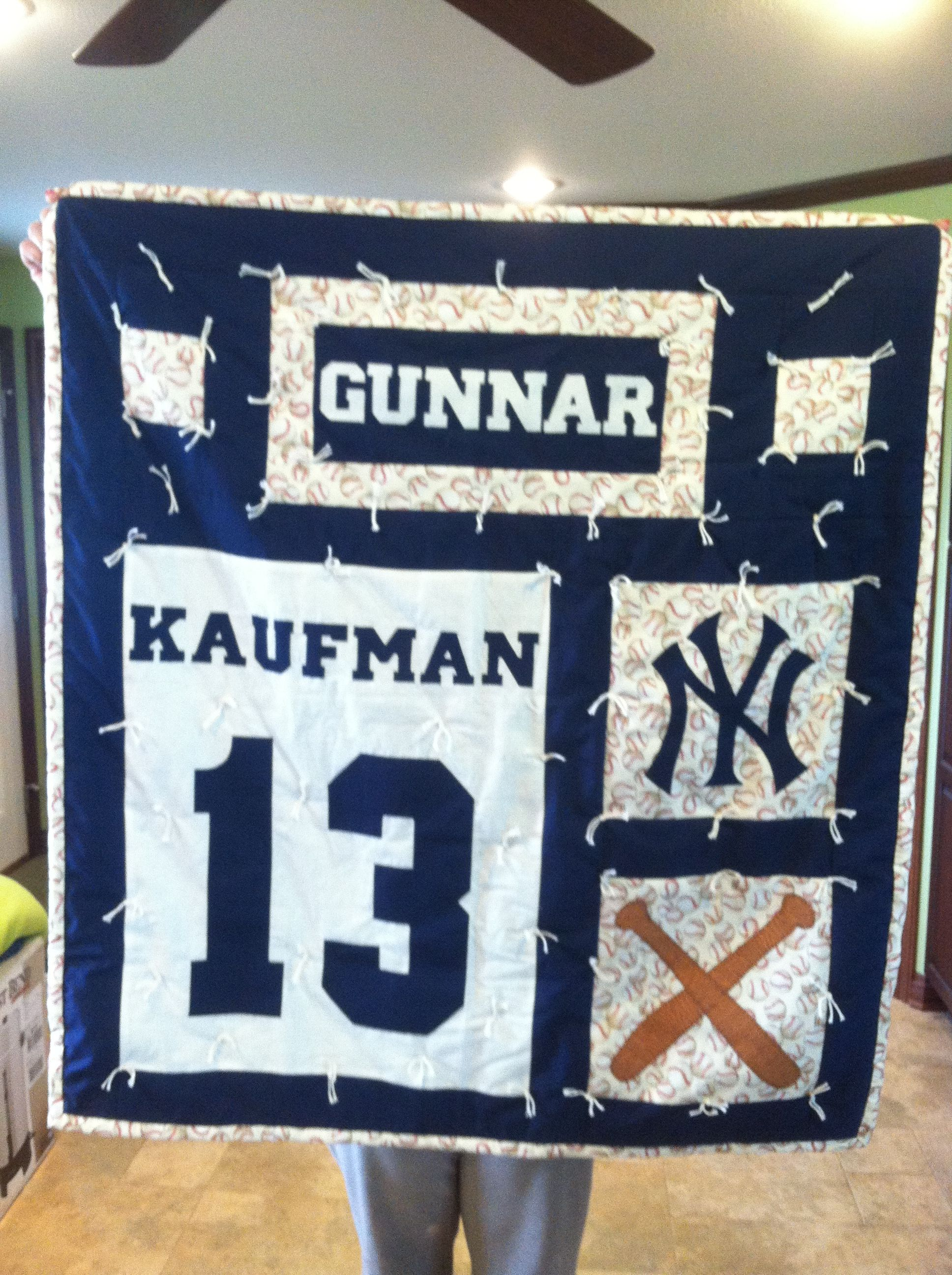 Baseball New York Yankee Baby Quilt