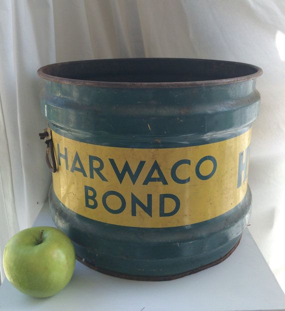Vintage Industrial Rusty Storage Bucket - Harbison Walker Advertising Can