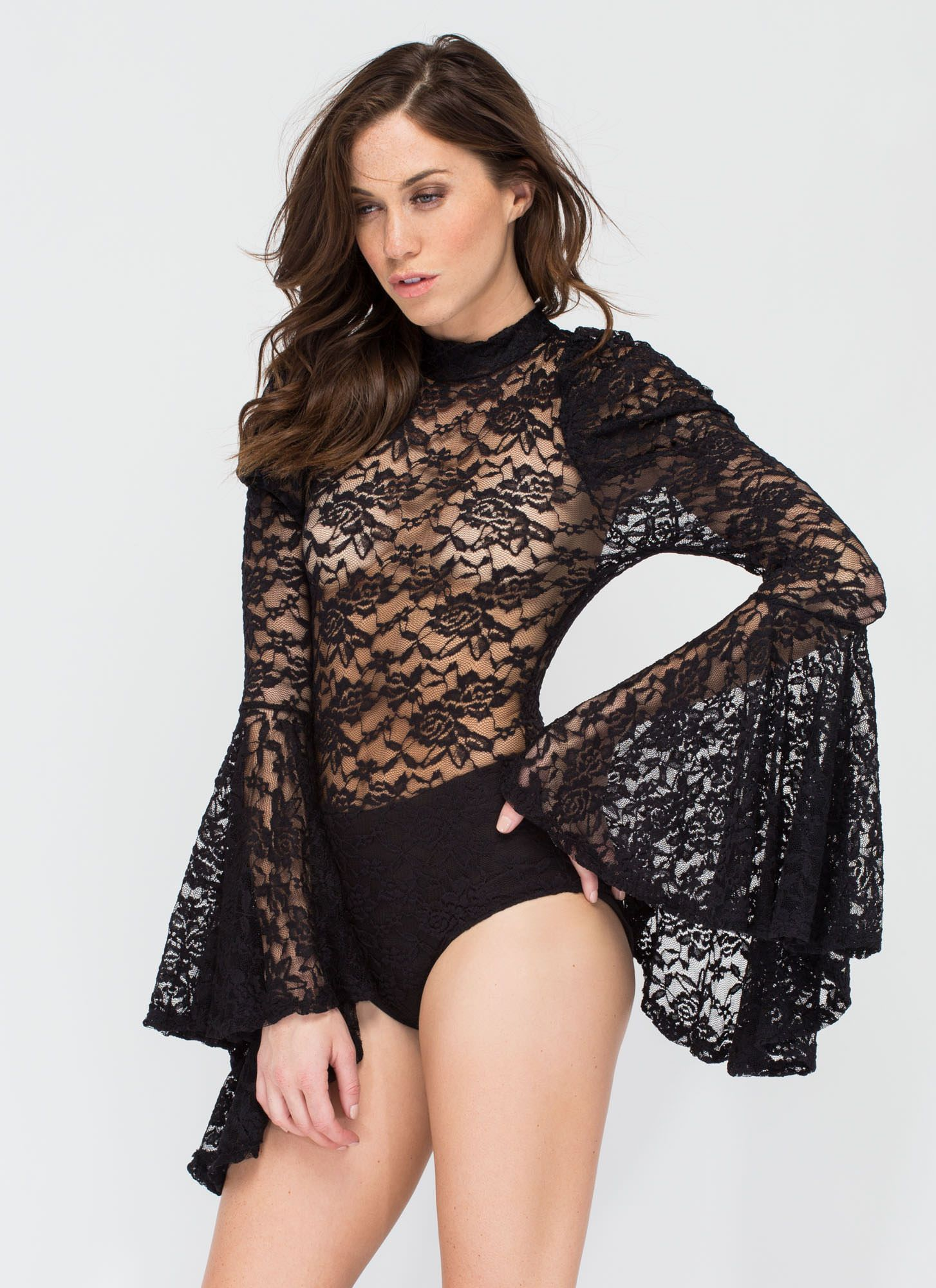 e76c8d4f388 Hippie Goddess Sheer Lace Bodysuit BLACK | aerial costume ideas ...