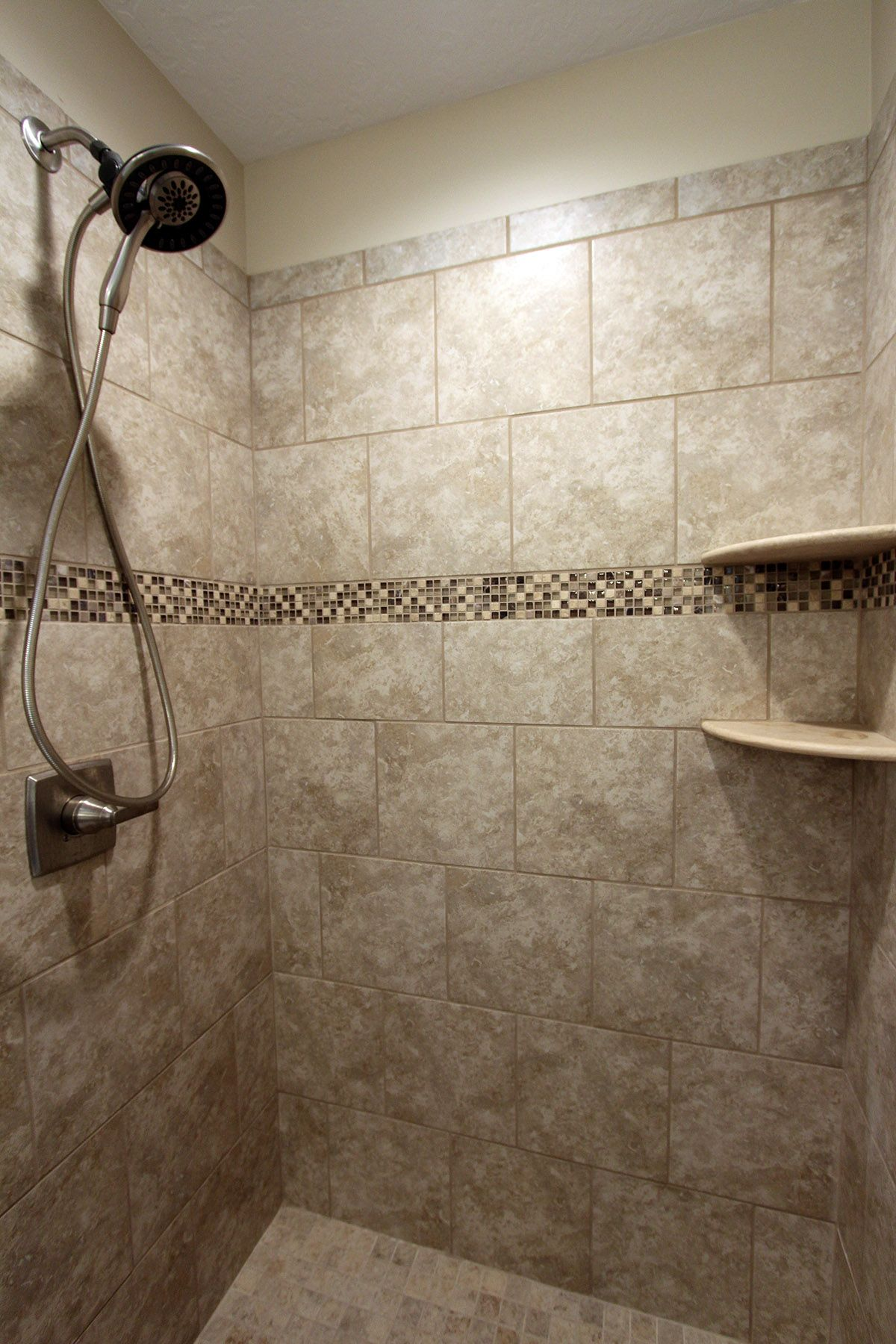 Tile Heathland White Rock 12x12 Sunrise Blend 2x2 Cappucino Mosaic Shower Floor Tile Shower Tile Rock Tile