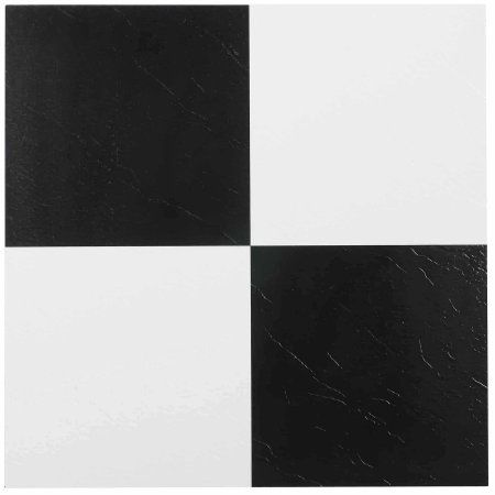 Achim Nexus Self Adhesive Vinyl Floor Tile 20 Tiles 20 Sq Ft 12x12 Black White Walmart Com Vinyl Flooring Vinyl Tile Adhesive Floor Tiles
