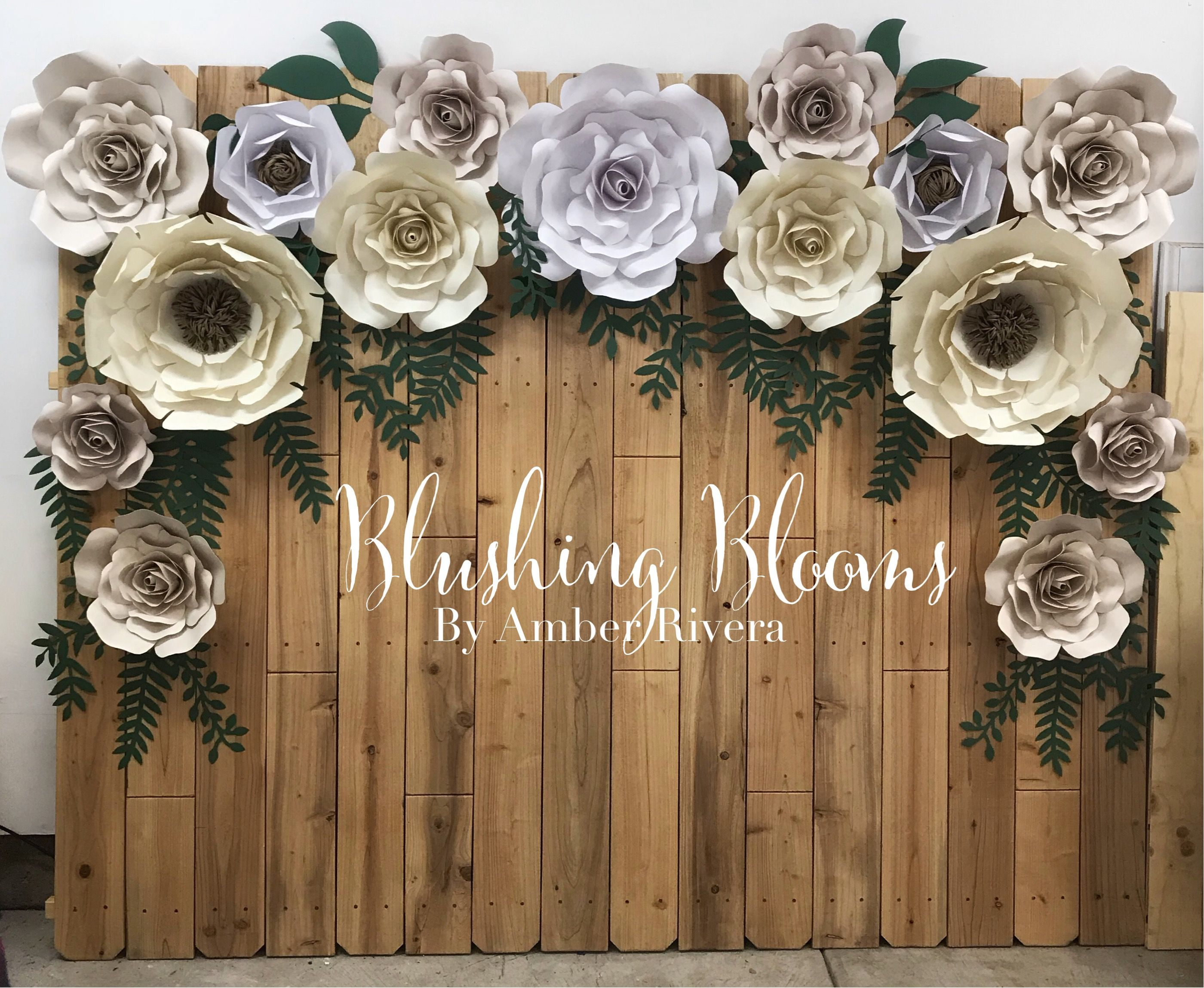 Rustic Wedding Paper Flower Backdrop Neutral With A Hint Of Blush