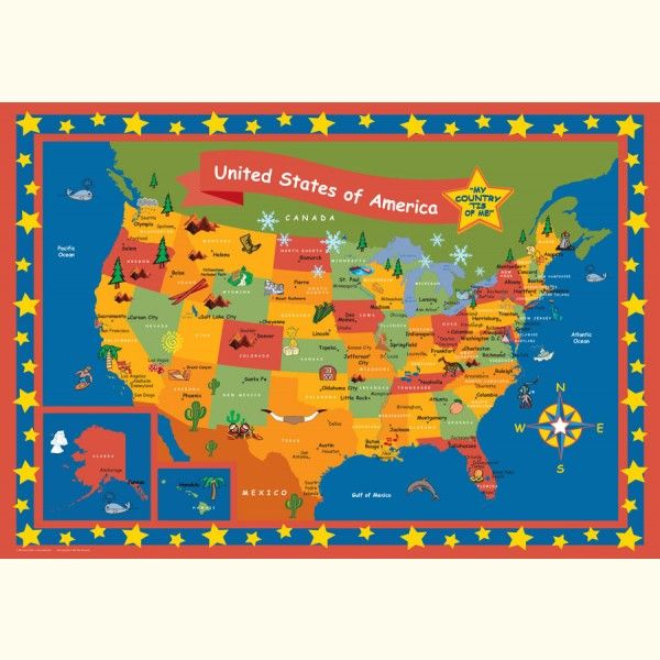 Childrens Map Poster Set Baby Pinterest - Us road map poster