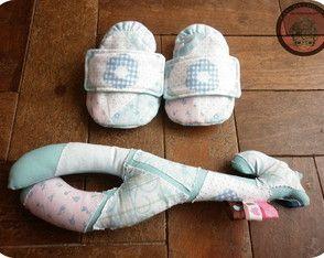 Sapatinho de bebê pantufinha azul
