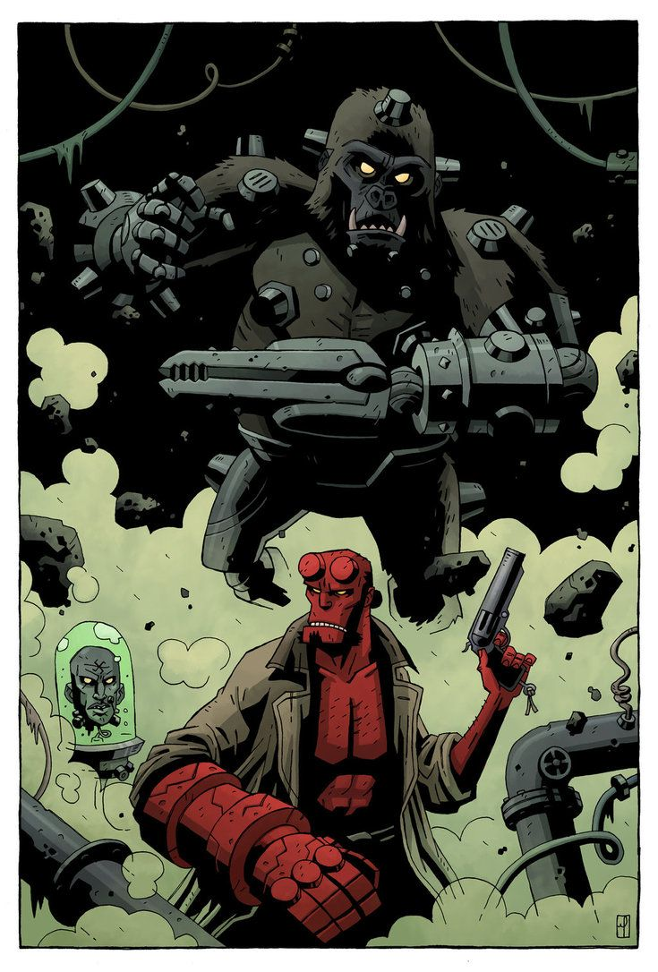 Hellboy vs Kriegaffe by ~mscorley on deviantART